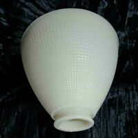 "Vintage White Milk Glass Torchiere Lamp Shade 8"" Diameter Waffle Texture 6"" Tall"