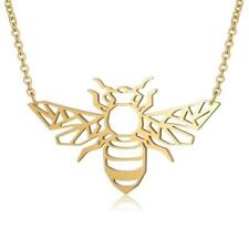 Gold Coloured, Geometric Boho Style Bumble Bee Insect Necklace
