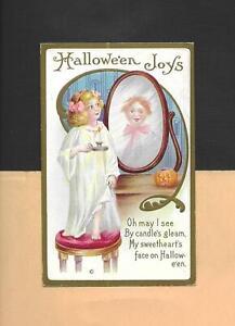 GIRL'S MIRROR REFLECTION SUPERSTITION, JOL Colorful Vintage HALLOWEEN Postcard