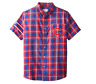 KLEW MLB Men's Chicago Cubs Wordmark Flannel Short Sleeve Button-Up Shirt