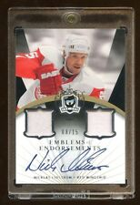 2007-08 THE CUP NICKLAS LIDSTROM AUTO #D /15 DUAL PATCH EMBEMS OF ENDORSEMENT !