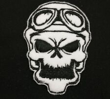 Biker Skull Embroidered Patch Badge Iron on or Sew.