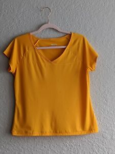 Columbia Women's Short Sleeve Athletic Top Size Large Yellow