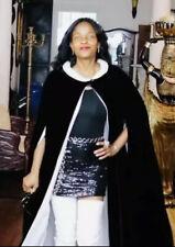 Vintage Classic velvet black & cream white long cape coat S-M