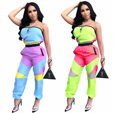 New Women Sexy Off Shoulder Color Patchwork Backless Pocket Casual Long Jumpsuit
