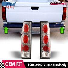 Fits 86-97 Nissan Hardbody D21 Pickup Brake Tail Lights Chrome Clear PAIR Set