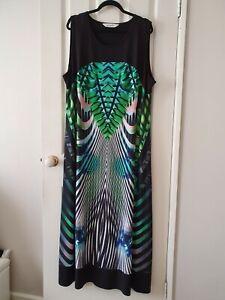 TS Virtuelle Black and Green Striped Tunic Maxi Dress Size L