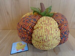 "PLUSH PUMPKIN 14"" Indian Corn Cob Print Yellow Red Handmade Fall Harvest Decor"