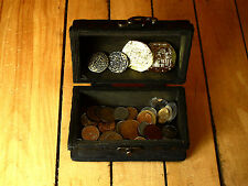 pirate wood treasure chest with 50 diff. world coins and 4 play gold doubloons