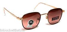 Retro Square Sunglasses Vintage Gold Brown Lens Men Women Fashion