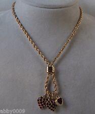 Signed Swarovski Triple Red Heart Necklace