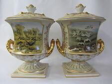 """Royal Piedra China dos manejado urnas 10.5 """"par diferentes aves de caza de escenas"""