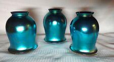 BLUE AURENE FAVRILE TULIP ART GLASS LIGHTING SHADES, SET OF 3 SMOOTH, BEAUTIFUL~