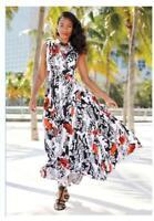 CLEARANCE Black White Poppy Floral Sundress size 16 Ashro Teegan Maxi Dress