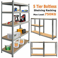 5 Tier Industrial Boltless Heavy Duty Racking Garage Warehouse Metal Unit Shelf