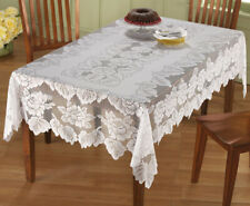 Lace Tablecloth Rectangle White In Hand Floral Rose Cover Elegant Dining Table