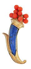 Brosche in Gold 750 mit Lapis und Korallen - Füllhorn 8,8 gr.- Goldbrosche 18 kt
