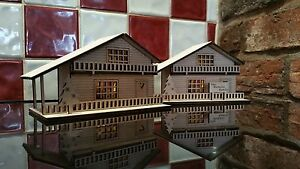 Personalised Wooden Swiss Chalet House Illuminated Christmas Decoration Built