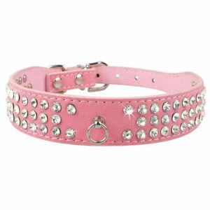 Suede Leather 3 Row Rhinestones Dog Collar Pet Crystals Diamante Bling Diamonds