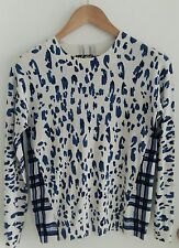 Lord And Taylor Sweater Indigo And White Animal Print And Check Size S Cute
