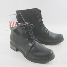 Black Lace Rugged Military Combat Winter Sexy Ankle Boots Size 9