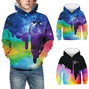 Galaxy 3D Printed Kids Boys Girls Hoodie Jumper Sweatshirt Hooded Pullover Tops