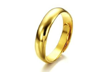 18ct Gold Plated RGP Women's 5mm Adjustable Open Band Shiny Classic Wedding Ring