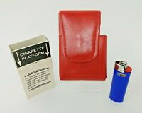 Retro Red Faux Leather Cigarette Pack Case with Bic Pocket, Smoke Collectible