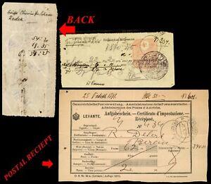 Palestine Foriegn Office Austria Jerusalem Postal Reciept Shaarei Zedek Ottoman