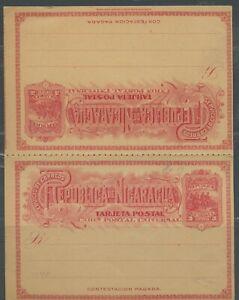 NICARAGUA 3C UPU 1892 COLUMBUS MINT POSTAL STATIONERY DOUBLE CARD AS SHOWN