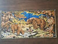 """Vintage Wall Hanging Tapestry Brown Bear Blue Stream Rug Wall Decor 37"""" x 19"""""""