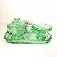 Vintage 1920s Green Uranium Glass Art Deco Vanity 5 Piece Dressing Table Set