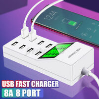 8-Port Smart Multi USB Hub Fast Charging Station AC Wall Charger LCD Male