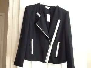 Women's Moto Jacket By Helmut Lang New Black w/White Accent Size 10 $220