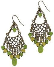 """Pierced Chain Heart Bead Chandelier Earrings Green 2 3/4"""""""
