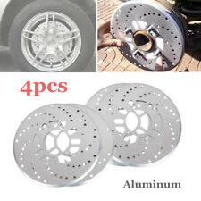 4Pcs Car Disc Brake Rotor Covers Parts Cool Silver Tone Aluminum Cross Drilled