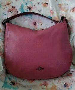 NWT Coach Pebbled Leather Chelsea 32 Rouge Pink Hobo 58036