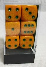Dice - Chessex 16mm Speckled Lotus w/Green Pips - Box of 12 - Unique Color Combo