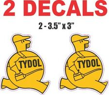 2 Tydol Man Gaoline / Oil  Decals Great for Dioramas, Gas and Oil Cans & More