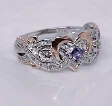 925 Sterling Silver Infinity Ring With Rose Gold Heart & Amethyst Gemstone Sz 8