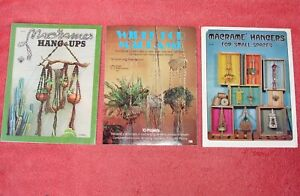 Macrame Pattern and Instruction How To Books Lot of 3 Vintage 1970's