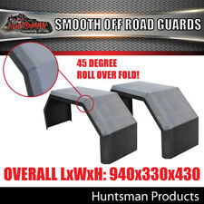 Pair Off Road Trailer Mudguards, Smooth Steel 330mm Wide Guards Aggressive folds