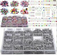 105Pcs Bulk Mixed Body Piercing Eyebrow Jewelry Belly Tongue Bar Ring Wholesale