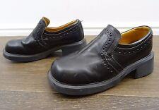 Vintage Doc Dr Martens Black Slip On Loafers Chunky Heel size 6 England