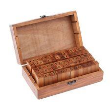 70 x Retro Wooden Rubber Upper Lower Case Alphabet Letters Number Stamps Set UK