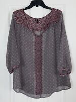 MAURICES Women's XXL Grey Sheer Floral Top 3/4 Sleeves V-Neck