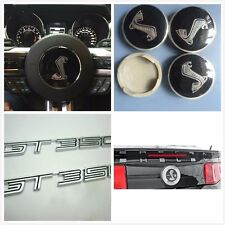 8pcs Mustang Cobra Horn cover+GT350+Shelby+wheel hub caps Black emblem For Ford