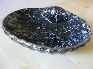 Black Marble Soap Dish Shell Shape  New with Tag Gold Trim Fast Ship
