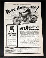 1928 OLD MAGAZINE PRINT AD, 1929 HARLEY-DAVIDSON MOTORCYCLES, FIVE NEW FEATURES!