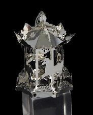 KURT S. ADLER SILVER TONE METAL THREE DIMENSIONAL 3D CAROUSEL CHRISTMAS ORNAMENT